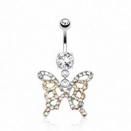 Piercing nombril papillon pierres zircon