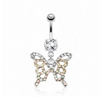 Piercing nombril papillon pierres zircon