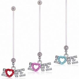 Piercing nombril de grossesse coeur love