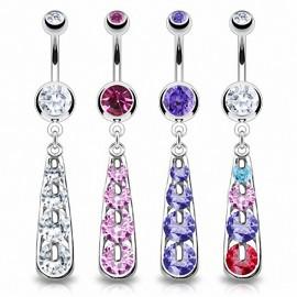 Piercing nombril pendentif 4 gemmes