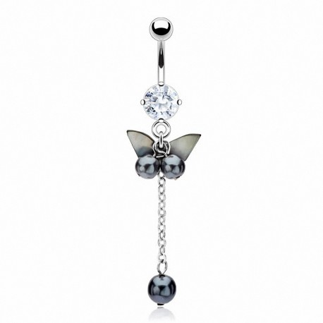 Piercing nombril nacre papillon