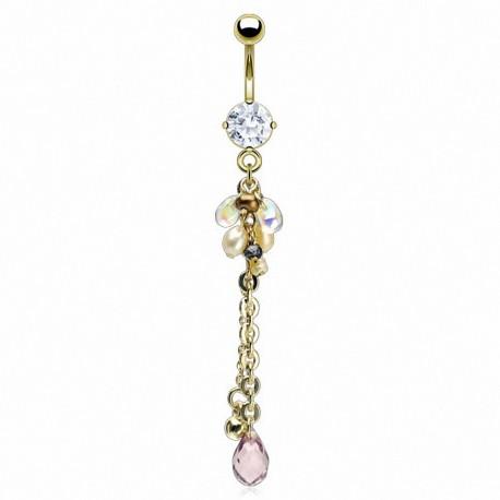 Piercing nombril plaqué or chaine perles