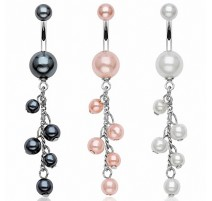 Piercing nombril perles chaine