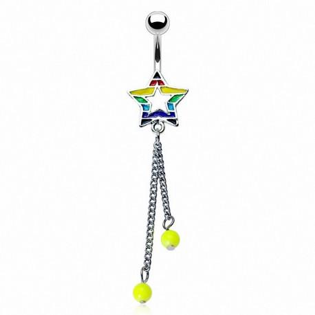 Piercing nombril étoile rainbow