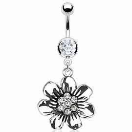 Piercing nombril vintage fleur