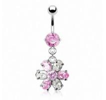 Piercing nombril fleur clair rose