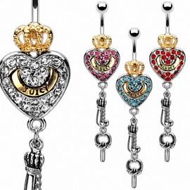 Piercing nombril couronne coeur