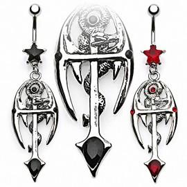 Piercing nombril Croix Gothique