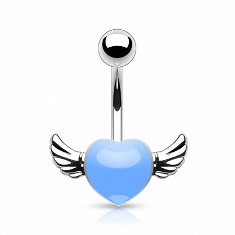 Piercing nombril coeur ailes d'ange