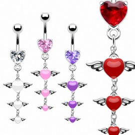 Piercing nombril ailes d'ange triple