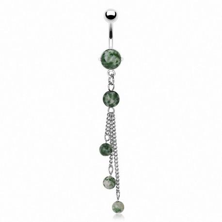 Piercing nombril chaines pierres semi précieuses
