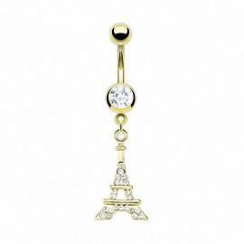 Piercing nombril plaqué or Tour Eiffel