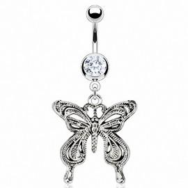 Piercing nombril papillon vintage