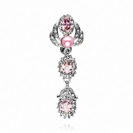 Piercing nombril inversé perles et gemmes