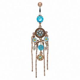 Piercing nombril vintage turquoise