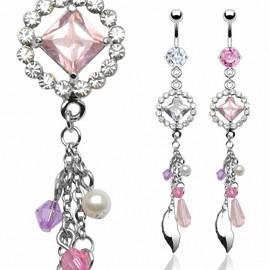 Piercing nombril gemmes et perles