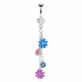 Piercing nombril fleurs multicolores