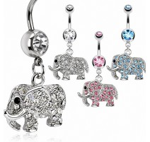 Piercing nombril éléphant gemmes