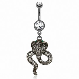 Piercing nombril hématite cobra