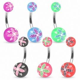 Piercing nombril acrylique fleurs