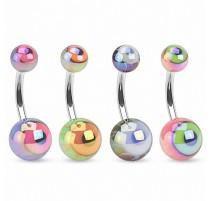Piercing nombril acrylique oeil