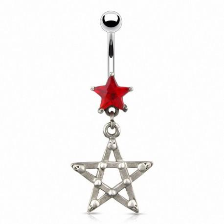 Piercing nombril étoile gothique