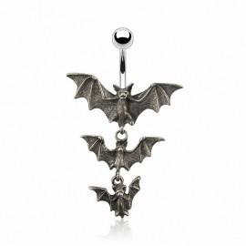 Piercing nombril Gothique chauve souris