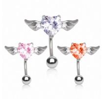 Piercing nombril inversé coeur ailes