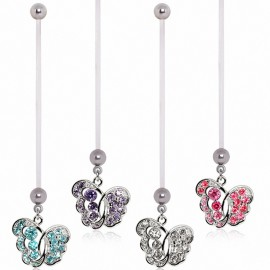 Piercing nombril de grossesse papillon