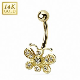 Piercing nombril Or 14 carats papillon strass