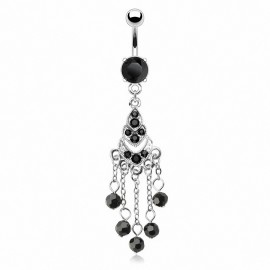 Piercing nombril chandelier perles noires