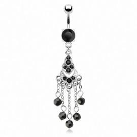 Piercing nombril chandelier perles noires