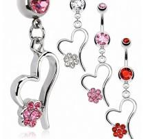 Piercing nombril coeur fleur