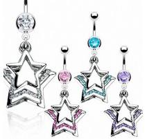 Piercing nombril triple étoile