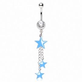 Piercing nombril étoiles bleues