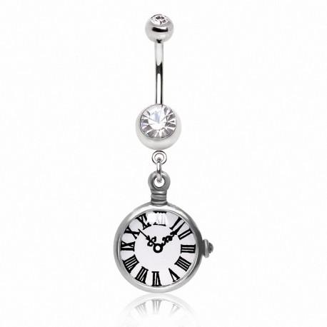 Piercing nombril montre de poche