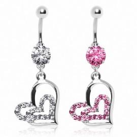Piercing nombril double coeurs