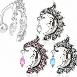 Piercing nombril inversé lune gemme