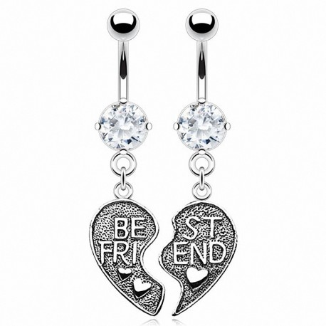"Paire de Piercing nombril coeur ""Best Friend"""