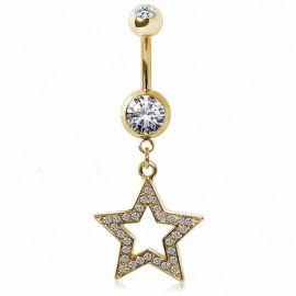 Piercing nombril plaqué or étoile