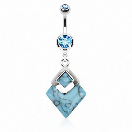 Piercing nombril pierre Turquoise