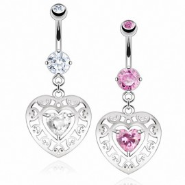 Piercing nombril coeur zircon