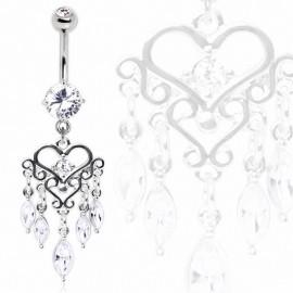 Piercing nombril chandelier coeur