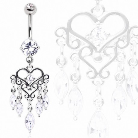 Piercing nombril chandelier coeur