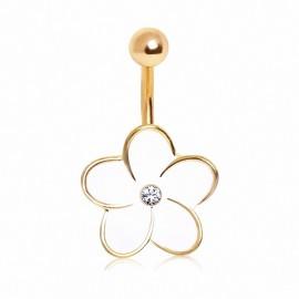 Piercing nombril plaqué or fleur blanche