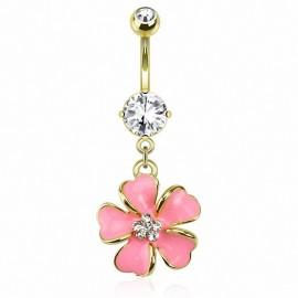 Piercing nombril plaqué or fleur rose