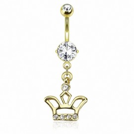 Piercing nombril plaqué or pendentif couronne