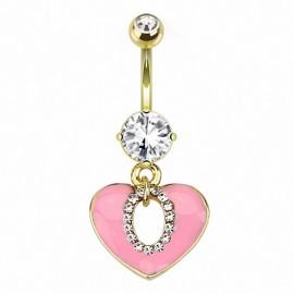 Piercing nombril plaqué or coeur rose