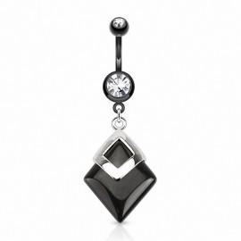 Piercing nombril pierre Agate Noire