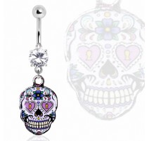 Piercing nombril sugar skull violet